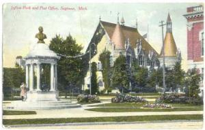 Jeffers Park and Post Office, Saginaw, Michigan, MI, 1910 Divided Back