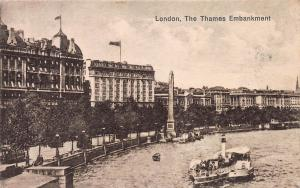 The Thames Embankment, London, England,1929 Postcard sent to France, Postage Due