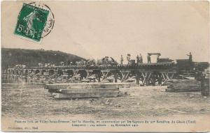 Military - WW1 Pont en bois de Villey saint etienne sur la moselle 1911 01.30