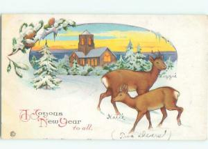Pre-Linen New Year BABY DEER BY THE CHURCH AB2451