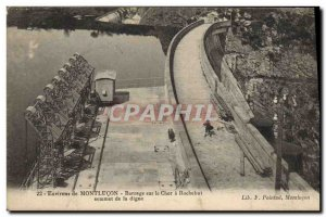Old Postcard Electricity Around Montlucon Dam on the Cher Rochebut top of the...