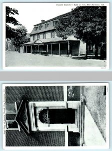 2 Postcards NEW HARMONY, INDIANA ~ Rappite Dormitory, North Door RAPPITE CHURCH