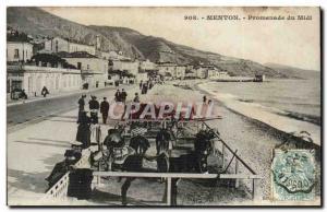 Menton - Promenade du Midi - Old Postcard Donkey Donkey mule