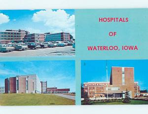 Pre-1980 THREE VIEWS ON ONE POSTCARD - HOSPITAL BUILDINGS Waterloo Iowa IA J9973