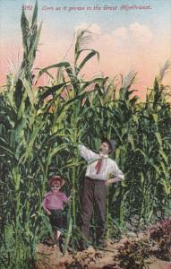 Father and Daughter in field, Corn as it grows in the Great Northwest, 00-10s