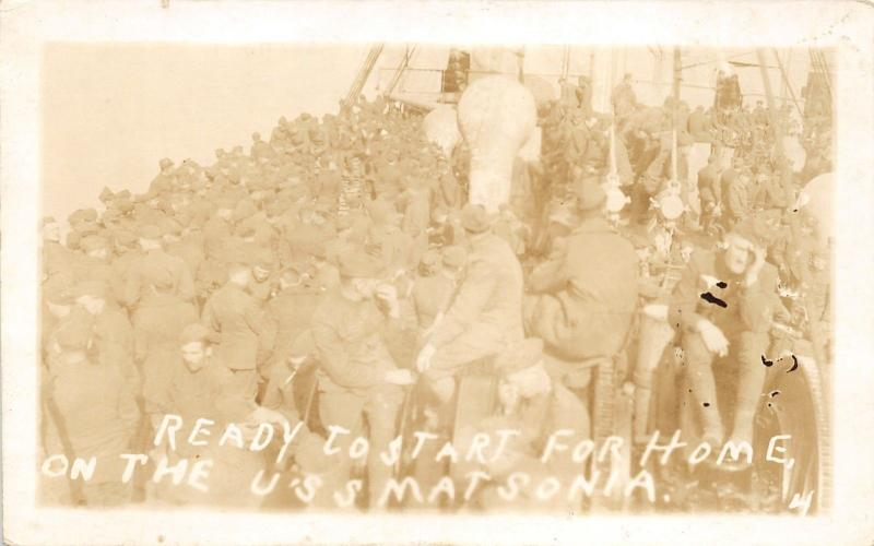 USS Matsonia~Navy Ship~Heading for Home~Sailors on Deck~WWI Era~c1918 RPPC