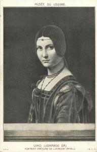 Early art postcard Lucrezia Crivelli portrait by Leonardo da Vinci
