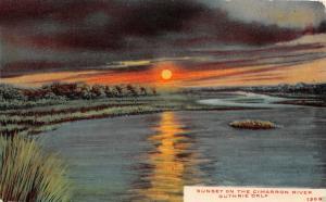 GUTHRIE OKLAHOMA SUNSET ON THE CIMARRON RIVER POSTCARD 1910