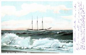 15379  MA Provincetown  Schooner outside the Cape