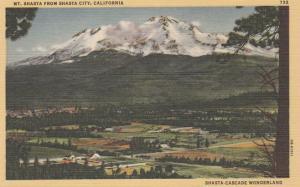 Mt Shasta from Shasta City CA, California - Shasta Cascade Wonderland - Linen