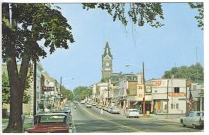 Clarion PA Main Street Storefronts Restaurants S&H Stamps Sign Old Cars Postcard