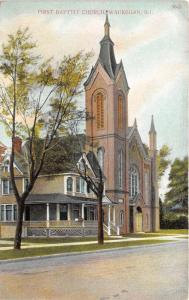 Waukegan Illinois~First Baptist Church~Tall Steeple-Tower~c1910 Postcard