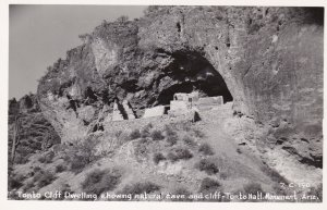 Arizona Tonto Cliff Dwellings Showing Natural Cave and Cliff Real Photo
