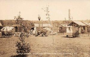 LPS60 Laconia New Hampshire White Owl Cottage Court Rock Garden Roadside RPPC