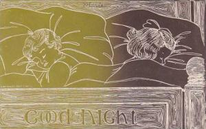 Good Night Children In Bed Asleep 1910