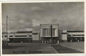 indonesia, JAVA BANDUNG, Railway Station (1920s) RPPC Postcard