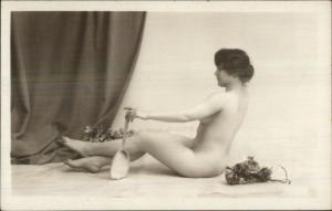 Nude Photography - Woman Holding Mirror c1915 Real Photo Postcard
