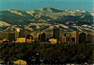 Colorado Denver Skyline Against Rocky Mountains