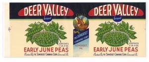 Deer Valley Early June Peas Vintage Can Label Somerset PA
