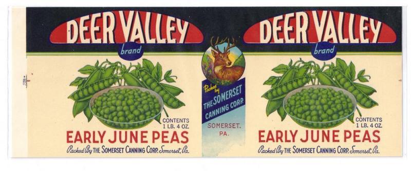 Deer Valley Early June Peas Somerset PA Vintage can Label