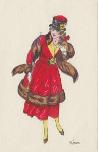 ART DECO ; Female wearing red coat with brown fur trimming, hat, 1910-20s