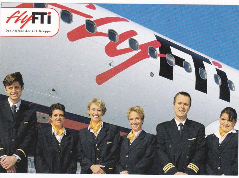 FTI Airlines Jet Airplane & Flight Crew , 70-80s
