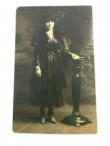 Vintage Postcard Women Dressed Standing w/ Fashion Hat Photograph
