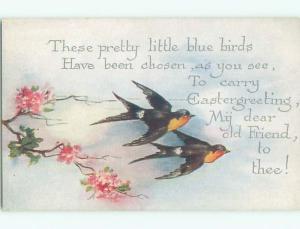 Unused Pre-Linen easter BEAUTIFUL BIRDS FLYING OVER PINK FLOWERS J1973