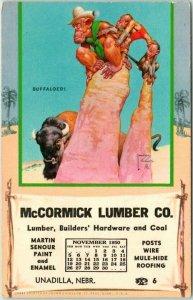 Unadilla, Nebraska McCORMICK LUMBER CO Postcard  Artist-Signed WOOD - Nov. 1950