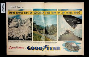1951 Good Year Tire Mount Rushmore Vintage Print Ad 015729