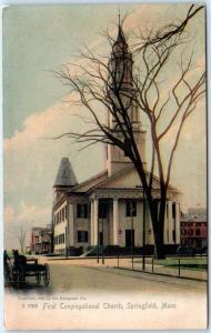 SPRINGFIELD, Massachusetts MA   FIRST CONGREGATIONAL CHURCH  1910  Postcard