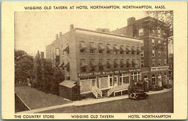 Vintage 1930s Massachusetts Postcard WIGGINS OLD TAVERN at Hotel Northampton