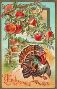 Vintage Postcard 1910's Thanksgiving Joys Greetings Turkey Beach Tree Embossed