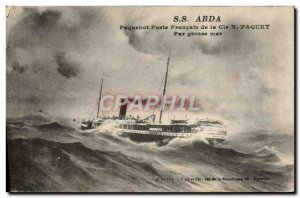 Old Postcard SS Abda Ship Station French N Coy Package in heavy seas