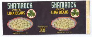 Shamrock White Lima Beans Newark NJ Vintage Can Label