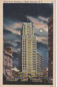 New York Syracuse The State Tower Building At Night 1946