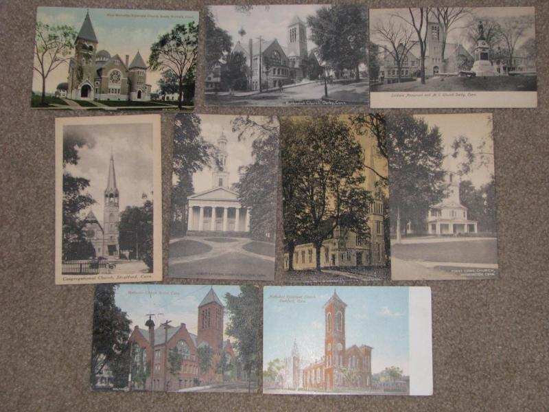 Churches- 9 different from Conn. used & unused vintage cards