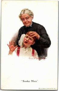 Sunday Morn, Grandma Scrubs Boys Ears Vintage Postcard A32