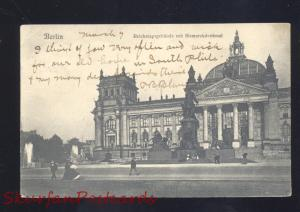 BERLIN GERMANY REICHSTAGSGEBAUDE MIT BISMARCKDENKMAL ANTIQUE VINTAGE POSTCARD