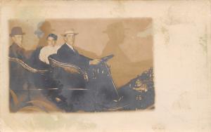 Real Photo Postcard~Trio in Vintage Automobile Cast Shadows~1905 RPPC