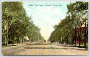 Colorado Springs~North Tejon Street~Cafe Sign~Double Trolley Tracks~Buggy~c1910