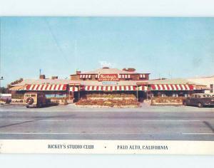 Unused 1950's RICKEY'S STUDIO CLUB RESTAURANT Palo Alto - Near Jose CA B8409