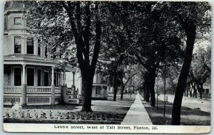 Paxton, Illinois Postcard CENTRE STREET, West of Taft Houses View 1915 Cancel
