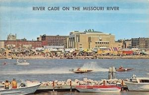 Sioux City Iowa~Missouri River Cade~Tents~Trailers~Speed Boat Race~1965 Postcard