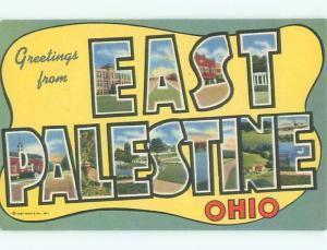 Unused Linen BIG LARGE LETTERS East Palestine Ohio OH Q2756-33