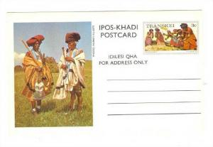 Ipos-Khadi Postcard, Older African Men Smoking Pipe, Transkei-Stamp, South Af...