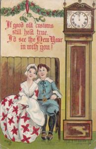 New Year Couple Sitting Besside Grandfather Clock 1910