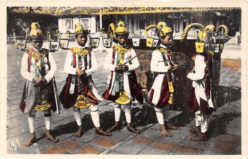 Annam Vietnam~Royal Dancers in Bare Feet~Lanterns on Hats~Vintage RPPC-Postcard
