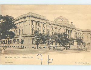 Damaged Back Pre-1907 LIBRARY Milwaukee Wisconsin WI A3208