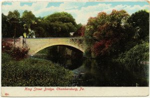 1907-15 Chambersburg PA King Street Bridge RARE Antique German Made DB Postcard
